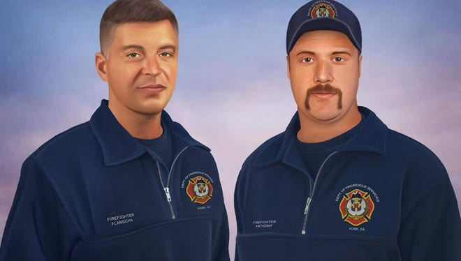 This painting by Philadelphia Police Officer Jonny Castro depicts Ivan Flanscha and Zachary Anthony, York firefighters who died in the line of duty in March 2018.