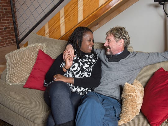 John McAfee and his wife, Janice Dyson, at The Round