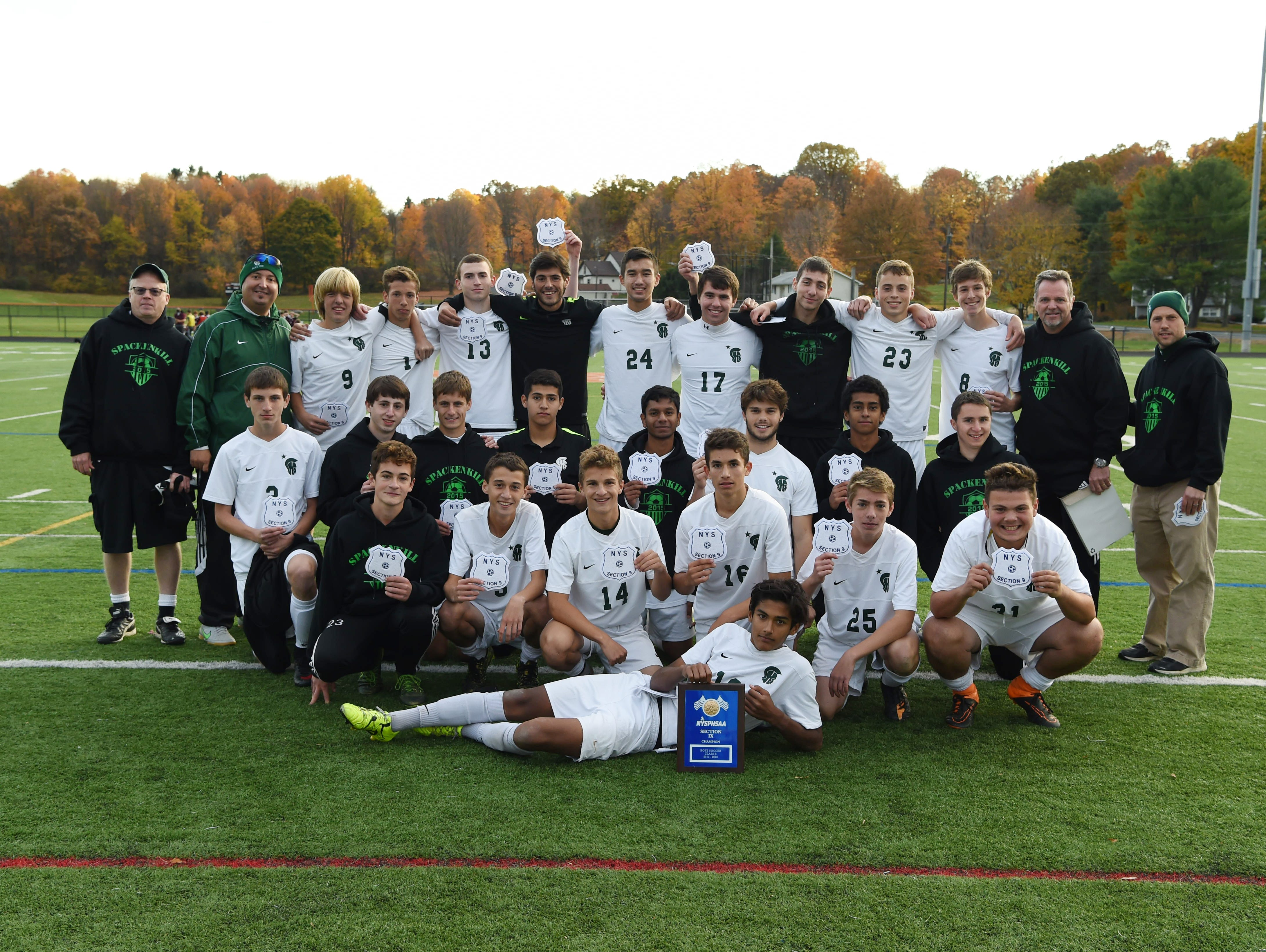Spackenkill's boys soccer team after winning the Section 9 Class B final held in Marlboro on Saturday.