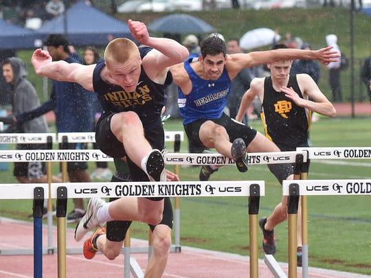 Indian Hills' Hank Anderson wins in 110m hurdles in B Div. on the second say of Bergen Track championships on Saturday, May 12, in Old Tappan, NJ.