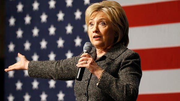 Hillary Clinton speaks during a campaign event in Ames,