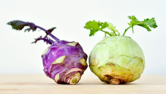 Kohlrabi, part of a CSA share from Prescott's Patch.