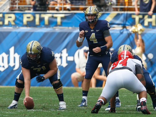 Pittsburgh quarterback Nathan Peterman (4) lines up