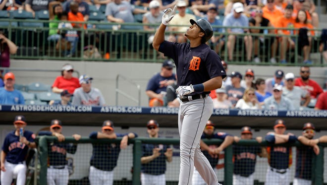 Detroit Tigers outfielder Steven Moya points upward after hitting a home run March 11, 2016, in Kissimmee, Fla.