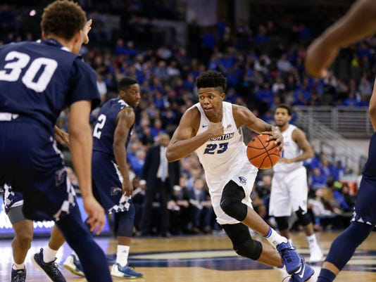 Creighton's Justin Patton (23) drives to the basket during the second half of an NCAA college basketball game against Longwood in Lincoln, Neb., Friday, Dec. 9, 2016. (AP Photo/Nati Harnik)