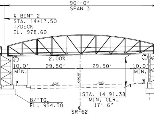 A portion of a rendering of the pedestrian bridge that
