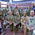 Military Appreciation Day at the Texans game featured appearances by President George H.W. Bush, Lone Survivor Marcus Luttrell and Challenger, a bald eagle.  The highlight was a surprise reunion between a soldier and his young son.