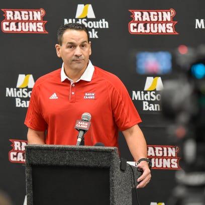 UL offensive coordinator Jorge Munoz speaks to media