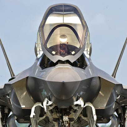 An F-35 variant prepares for a test flight, unknown location.