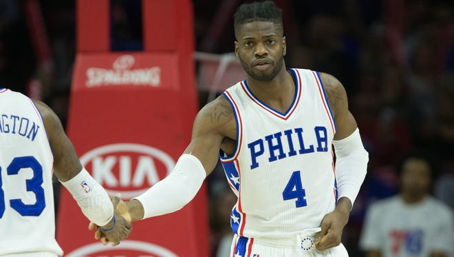 Philadelphia 76ers forward Nerlens Noel (4) takes the court against the New Orleans Pelicans during the second half at Wells Fargo Center.