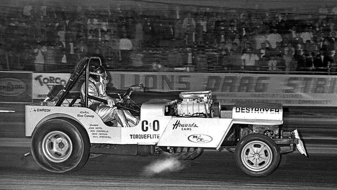 """Gene """"Conway"""" Ciambella's """"Destroyer"""" might have won more match races and open competition shows than the other two memorable Jeep Funny cars. The """"Destroyer"""" also did well at the '67 NHRA Winternationals, earning a semi-final finish in the S/XS class."""