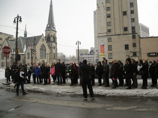 Fans wait for more than two hours in the cold Wednesday