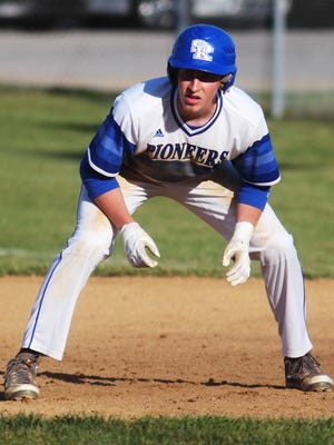 Simon Kenton's Colton Downs eyes the pitcher in a 3-0 win for the Pioneers over Scott April 1. They will take part in the Doc Morris baseball tournament this week.