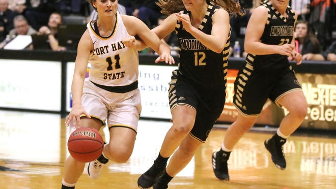 Fort Hays State University's Jaden Hobbs takes the ball upcourt against Emporia State during a game last season at Gross Memorial Coliseum in Hays.