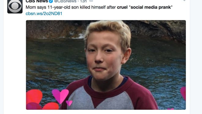An 11-year-old Michigan boy ended his life after a twisted social media prank, according to his mother.