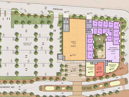 The footprint of mixed-use redevelopment plan proposed
