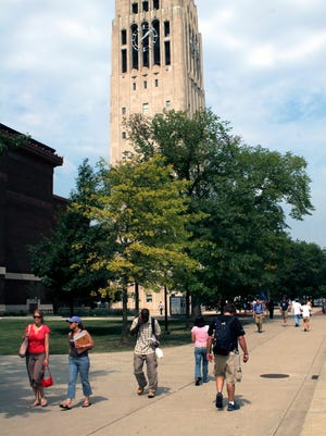 Students walk across the University of Michigan campus in this 2005 photo.