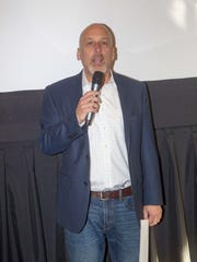 Bob Feinberg, founder and chairman of the Montclair Film Festival, speaks at its 2017 preview party at the Investors Bank Film and Media Center on Sunday.