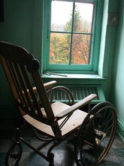A wheelchair sits in a ward of the former Binghamton