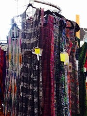 A rack of ikat dresses handwoven by Guatemalan women