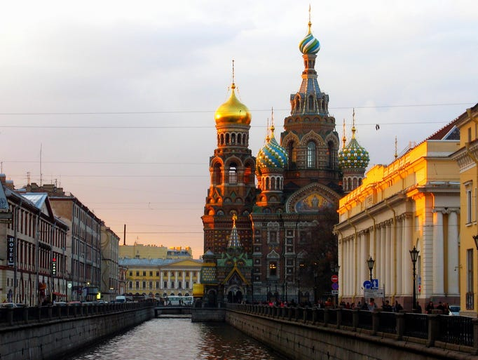 The Church of Our Savior on the Spilled Blood in                                                          St.                                                          Petersburg