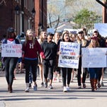 Harvard students protest on May 10, 2016.