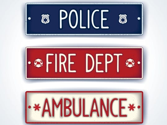 Police, fire department, ambulance car signs