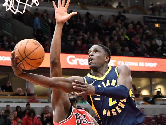 Dec 29, 2017; Chicago, IL, USA; Indiana Pacers guard Darren Collison (2) goes to the basket against Chicago Bulls guard Justin Holiday (7) during the first half at United Center. Mandatory Credit: David Banks-USA TODAY Sports