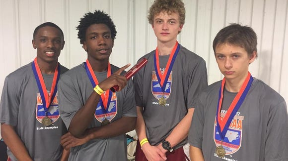 Asheville's 3,200-meter relay team won a state championship at Saturday's NCHSAA 3-A indoor track meet in Winston-Salem.