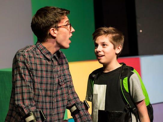 Garrett Rossow, 17, left, and Ben Adair, 14, rehearse