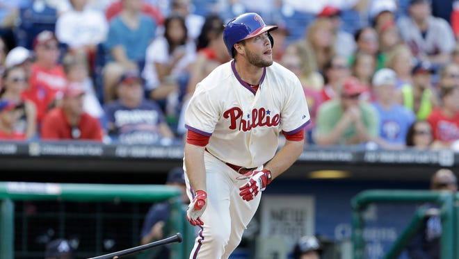 PHILADELPHIA, PA - SEPTEMBER 8:  Darin Ruf #18 of the Philadelphia Phillies watches his game winning home run against the Atlanta Braves during the eighth inning at Citizens Bank Park on September 8, 2013 in Philadelphia, Pennsylvania. The Phillies won 3-2.(Photo by Chris Gardner/Getty Images)