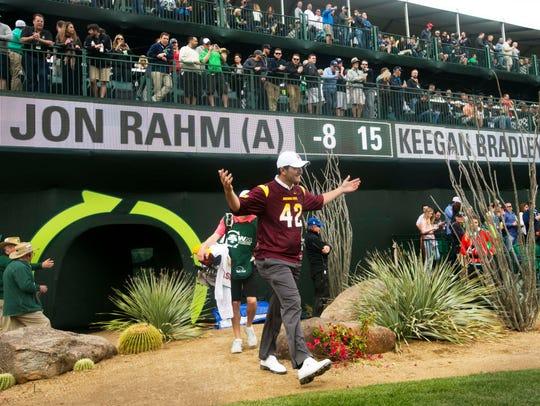 Arizona State's Jon Rahm sports a Pat Tillman jersey