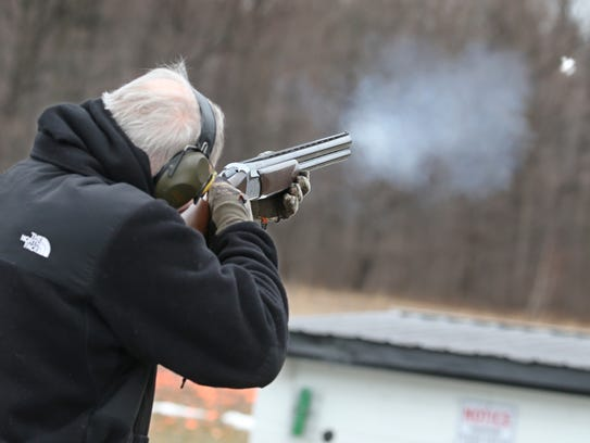 Bob Drake, Webster, takes aim and shoots on the Wobble