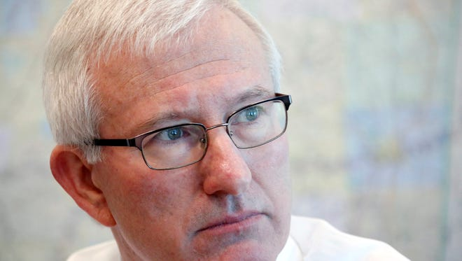 In this Aug. 14, 2014 photograph, former Democratic Gov. Ronnie Musgrove outlines why he is traveling around Mississippi trying to get school districts to sign up for lawsuits against the state seeking payment of the $1.5 billion that the state had underfunded its K-12 school formula since fiscal 2010. Musgrove has scheduled news conferences, on Thursday, Aug. 28, 2014, in Jackson and Hattiesburg where he will announce plans to ?take action to fully fund? the Mississippi Adequate Education Program. (AP Photo/Rogelio V. Solis)
