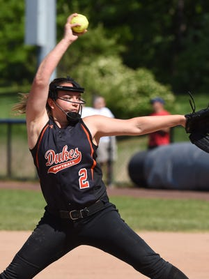 Marlboro's Melonie Papuli winds up a pitch during Saturday's Class B regional final against Babylon at St. Joseph's College in Patchogue.