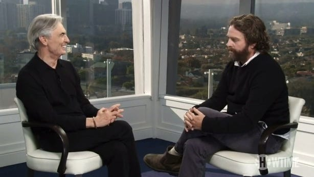 'Inside Comedy' host David Steinberg, left, chats with Zach Galifianakis on tonight's episode of the Showtime series.