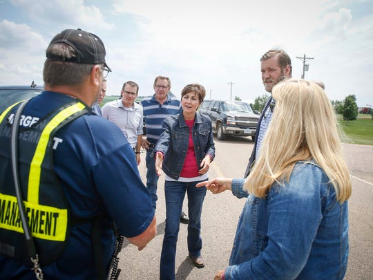 Iowa Gov. Kim Reynolds meets with emergency officials