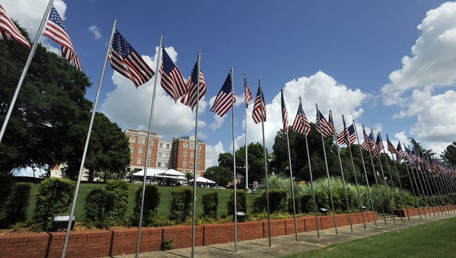American flags fly at the west campus of the Central Alabama Veterans Health Care System in Montgomery on May 28, 2012.
