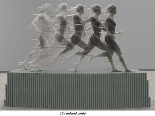 """A rendering shows what the sculpture """"Run"""" will look"""