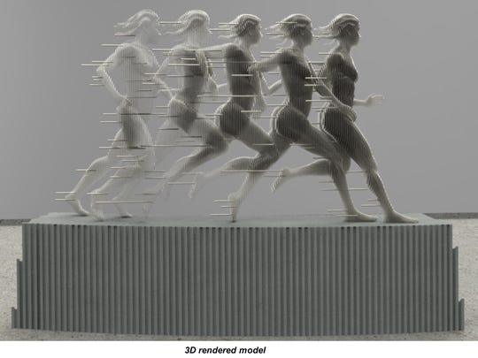 "A rendering shows what the sculpture ""Run"" will look like once placed on a plinth."