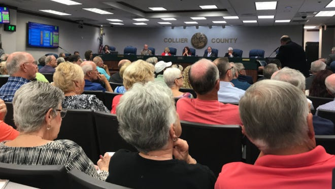 View from inside the meeting in Collier County on Wednesday, Oct. 25, 2017.