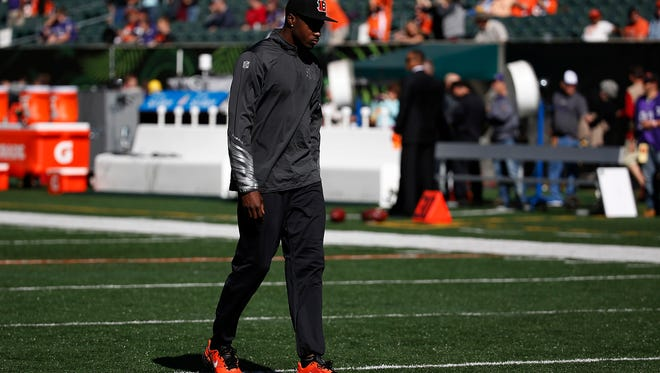 Bengals wide receiver A.J. Green walks on the field before Sunday's game against the Ravens.