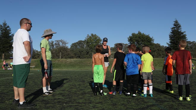 Soccer teams practice at the California Soccer Park in the summer of 2017. The fields at the park, formerly known as Redding Soccer Park, have been deteriorating for years and need to be replace.