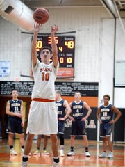 Palmyra's Isaac Blatt shoots a free throw following