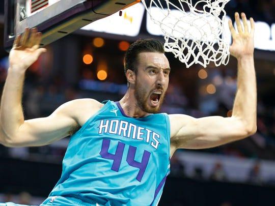 Hornets big man Frank Kaminsky reacts after a dunk on Nov. 1.