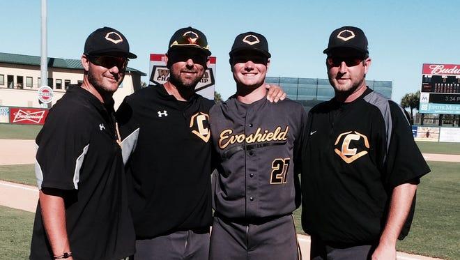 Logan Allen and Evoshield Canes (Va.) coaching staff.