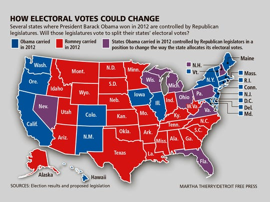 How electoral votes would change for states that have the political climate to bring up a proposal to split electoral votes.