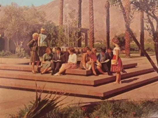 Students, including Eastes, gather at the COD fountain in the 1960s.
