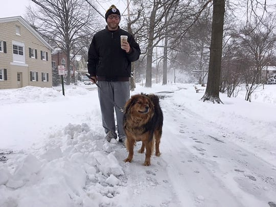 Moe and his dog Archie at the Duck Pond in Ridgewood