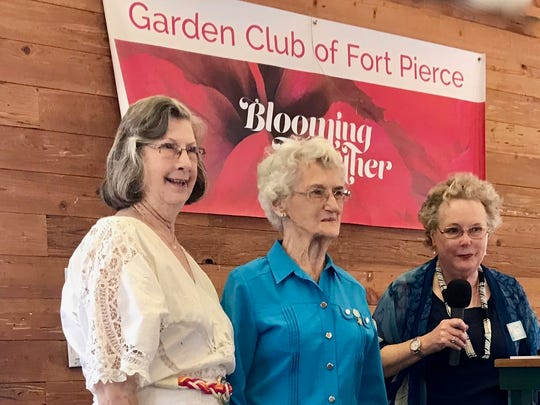 Longtime members and active contributors Shirley Walker and Emily Jennings (member since in 1953) accepted the Emerald Certificate from District Director Lynn Jones honoring 70 years of association with the Florida Federation of Garden Clubs.